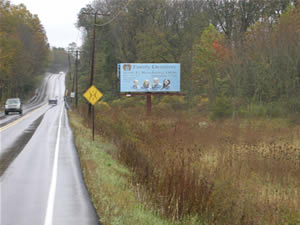 "Rt 183 southbound North of Reading Pa 10'9"" x 23' poster, one mile south of I-78"