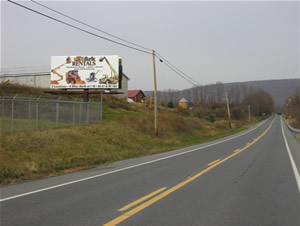 "Rt 183 northbound North of Reading Pa 10'9"" x 23' poster, 1/4 mile north of I-78"