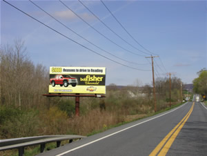 "Rt 183 northbound North of Reading Pa 10'9"" x 23' poster one mile south of I-78"