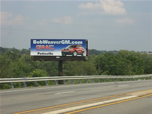 "Rt. 61 billboards southbound Between Reading PA and Pottsville PA 10'6"" x 36' bulletin w/lights 500 feet south of I-78, near Cabela's"
