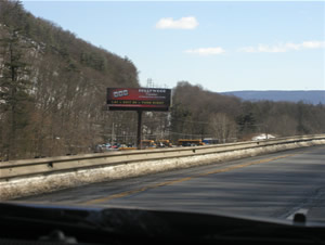I-81 southbound Billboards Between Harrisburg PA and Scranton PA 14' x 48' bulletin w/lights between Exit 100 and Exit 104, near Pine Grove PA