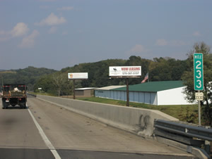 "Rt 15 northbound between Harrisburg and Gettysburg 10'6"" x 36' bulletin w/lights two miles south of Dillsburg, PA"
